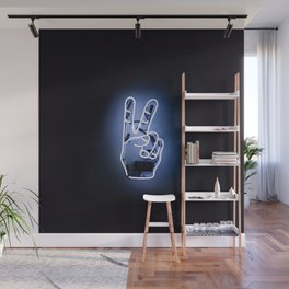 Peace Sign Hand Neon Sign Wall Mural
