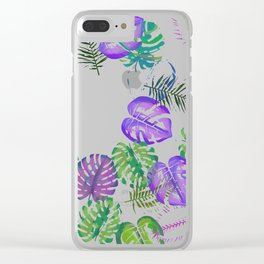 Tropical Spring Leaves (water colour) Clear iPhone Case