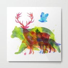Colorful watercolors wild animals overprint Metal Print