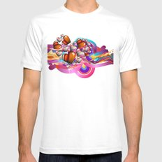 Colorful Hearts MEDIUM Mens Fitted Tee White