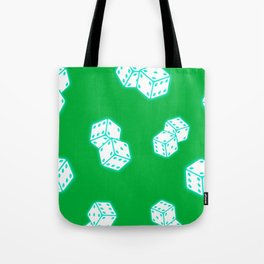 Two game dices neon light design Tote Bag