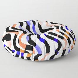Wavy lines - orange, blue and black Floor Pillow