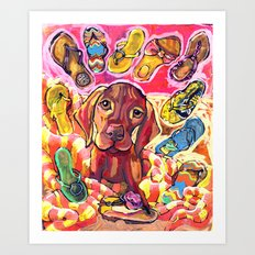 Dog with Shoes Art Print