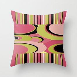 Contemporary Circles and Stripes Pattern in Hot Pink Neon Green and Black Throw Pillow