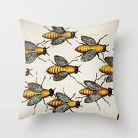 medieval Throw Pillows featuring Medieval Swarm by Vintage Avenue