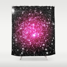 Galaxy Stars : Hot Pink Pop Of Color Shower Curtain
