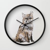 roald dahl Wall Clocks featuring Fox by Killerwinter