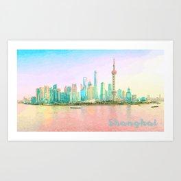 Watercolor painting of Shanghai waterfront Art Print