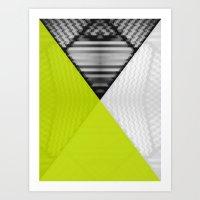 Black White and Bright Yellow Art Print
