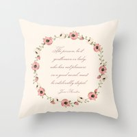 jane austen Throw Pillows featuring Jane Austen Quote by Patty Marq