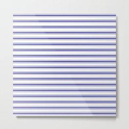 Wide Horizontal Australian Flag Blue Mattress Ticking Bed Stripes Metal Print