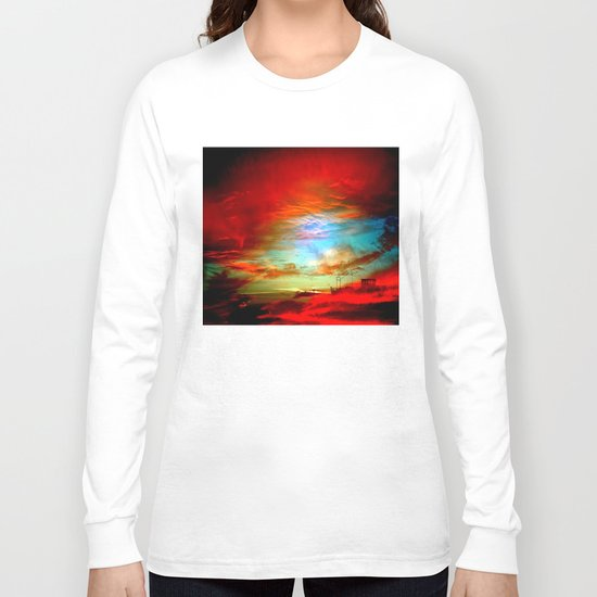 Seascape With Boat By Annie Zeno  Long Sleeve T-shirt