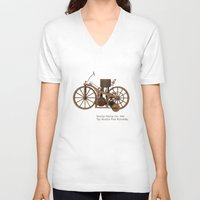 mercedes V-neck T-shirts featuring Daimler Riding Car, 1885. The world's first motorbike. by Marijan Zubak