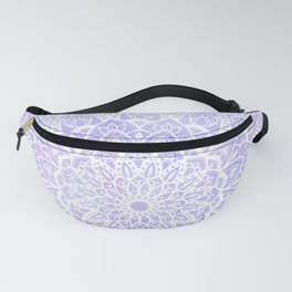 White Mandala on Pastel Blue and Purple Textured Background Fanny Pack