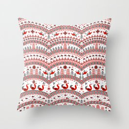 Mezen painting. Floating and flying birds, fir trees, sun signs, semicircular ornaments. Throw Pillow