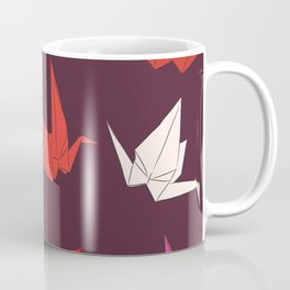 Japanese Origami paper cranes sketch, symbol of happiness, luck and longevity Coffee Mug
