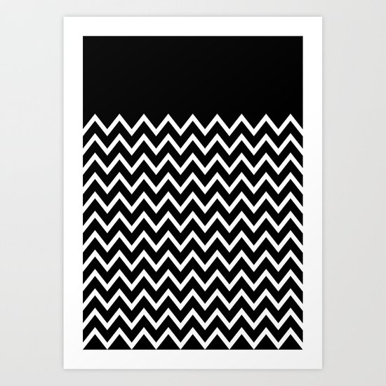 White Chevron On Black Art Print