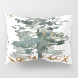 Christmas Tree Watercolors Noel Gold Typography Pillow Sham