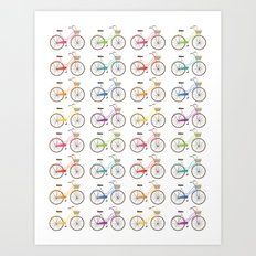 Rainbow Bicycles Art Print