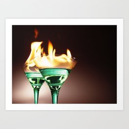 Flaming Absinthe Aperitifs - Alcoholic Cocktails color photograph / photography by Nik Frey Art Print