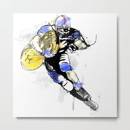 French Horn Football Metal Print