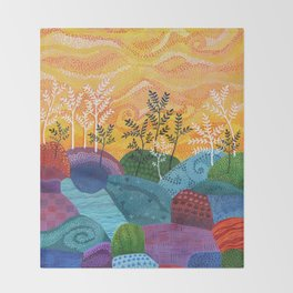 on and on fields Throw Blanket