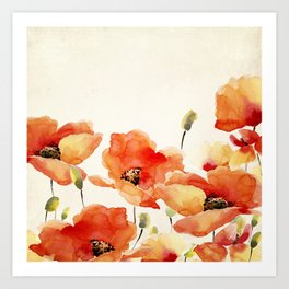 Poppy Flower Meadow- Floral Summer lllustration Kunstdrucke