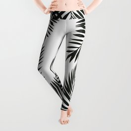 Black Watercolor Tropical Leaves Leggings