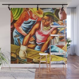 """African American Classical Masterpiece """"The Reconstruction"""" by Hale Woodruff Wall Mural"""