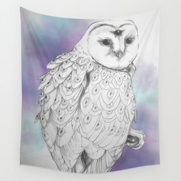 Owl with a third eye and crystal ball Wall Tapestry