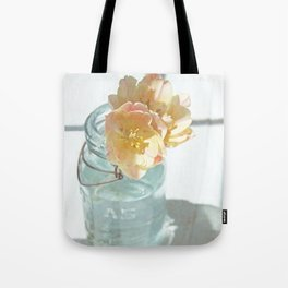 Pink and Yellow Tulips in Vintage Blue Jar Tote Bag