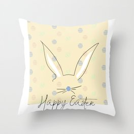 Happy Easter Postcard Bunny Ears #eastergift Throw Pillow