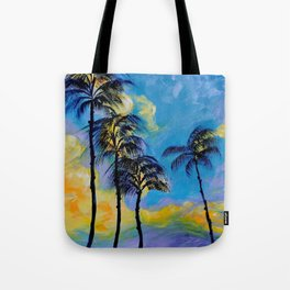 Moon over Palm Trees Tote Bag