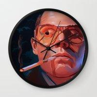 fear and loathing Wall Clocks featuring Fear & Loathing by RileyStark