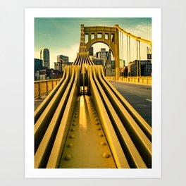 Pittsburgh Clemente Bridge Detail City Print Art Print