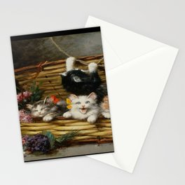 cute kitten 2- Leon Huber - A basket full of cat - pet,whikers,cat,kitty,kitten Stationery Cards