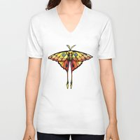 moth V-neck T-shirts featuring Moth by ChaoticWaffle