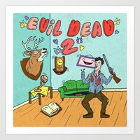 evil dead Art Prints featuring ♥ EVIL DEAD 2 ♥ by Josh LaFayette