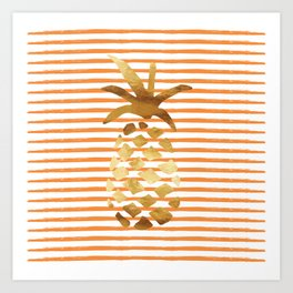 Pineapple & Stripes - Orange/White/Gold Art Print