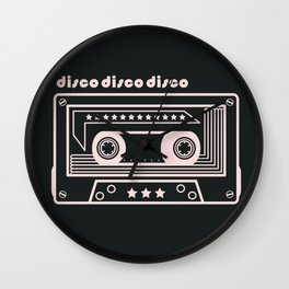 Black and White Disco Music Cassette Wall Clock