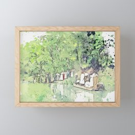 Group at picnic grounds, Ferndale watercolor by Ahmet Asar Framed Mini Art Print