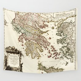 1752 Map of Greece Wall Tapestry