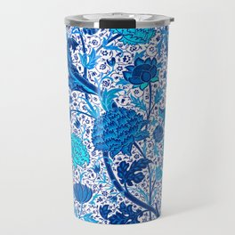William Morris Jacobean Floral, Cobalt Blue Travel Mug