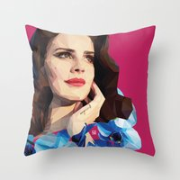 ultraviolence Throw Pillows featuring Del rey by Jesus Servin