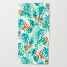 Tropical Paradise Pale Yellow Beach Towel