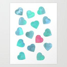 One heart in a million - mint palette Art Print