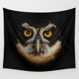 Trading Glances with a Spectacled Owl Wall Tapestry