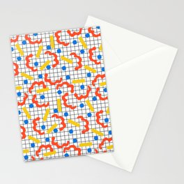 Primal - memphis throwback squiggle circle geometric grid lines dots trendy hipster 80s retro cool Stationery Cards