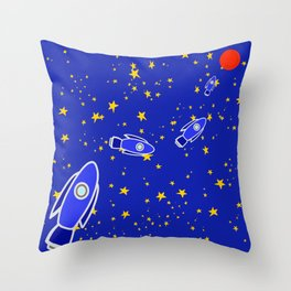Rocketship to Mars Throw Pillow