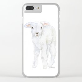 Lamb 2 Watercolor Clear iPhone Case